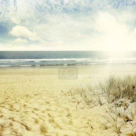 Photo for Sand, water and sky beach scenery - Royalty Free Image
