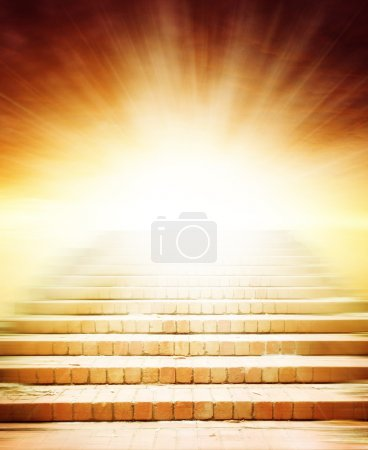 Photo for Stairway leading up to bright light - Royalty Free Image