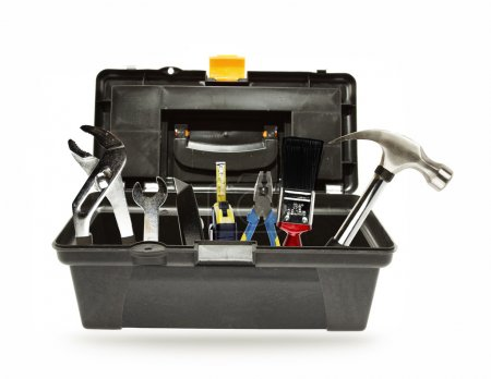 Photo for Tools in open toolbox on plain background - Royalty Free Image