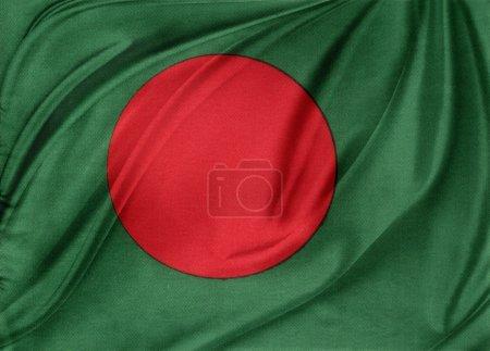 Photo pour Gros plan de soyeux drapeau du bangladesh - image libre de droit