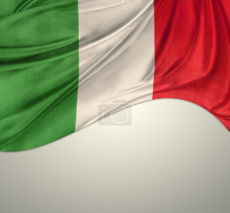 Photo pour Drapeau italien sur fond Uni - image libre de droit