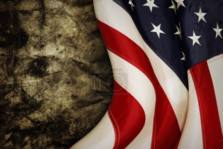 Photo for Closeup of American flag on grunge background - Royalty Free Image