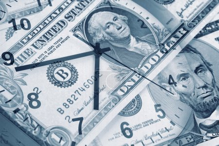 Photo for American banknotes and clock. Time is money concept - Royalty Free Image