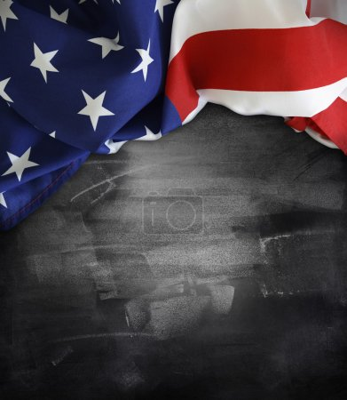 Photo for American flag on a blackboard - Royalty Free Image