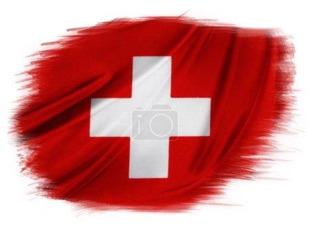 Photo pour Drapeau suisse sur fond Uni - image libre de droit