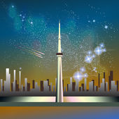 Abstract vector science image of the Milky Way with the Constellation over Toronto CN Tower Canada
