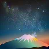 Abstract vector science image of the Milky Way with the Constellation over Fuji mountain