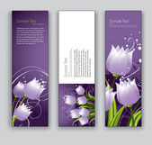 Abstract Floral Banners Vector Backgrounds Set of Three