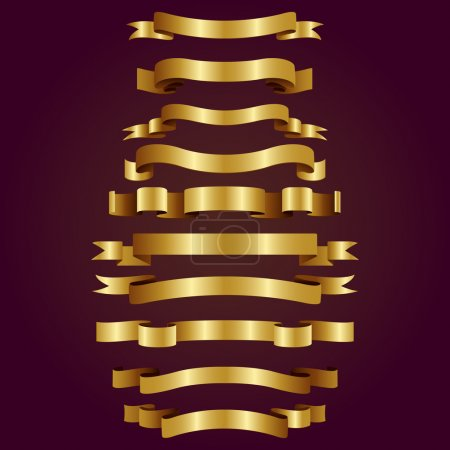 golden vector ribbons or banners for your text