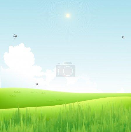 Illustration pour Champ vert et ciel bleu - image libre de droit