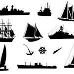 Постер, плакат: Sea cargo ships and old ships