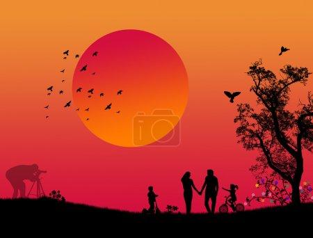 Illustration pour Conception vectorielle du parc de la ville avec des amoureux, photographe et enfants, illustration vectorielle - image libre de droit