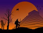 Starověké mayské bojovníci v chichen itza