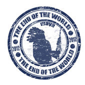 The End of the World theme grunge rubber stamp vector illustration