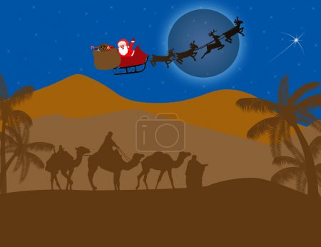 Illustration for Classic three magic scene, with flying Santa and shining star of Bethlehem, vector illustration - Royalty Free Image