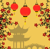 Traditional chinese lanterns for Chinese New Year and asian pagoda Asian style background vector illustration