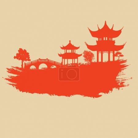 Illustration for Old paper with asian landscape on vintage asian style grunge background, vector illustration - Royalty Free Image