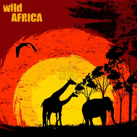 Illustration for Vector illustration of sunset in wild africa. Elephant and giraffes on grunge background - Royalty Free Image