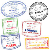Passport grunge stamps from Athens Rome Paris Berlin London and Madrid vector illustration