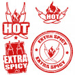 Set of extra spicy chili pepper stamps on white, v...