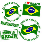 Set of stamps and labels with the text made in Brazil written inside