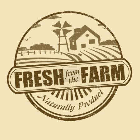 Illustration for Fresh from the farm product grunge rubber stamp, vector illustration - Royalty Free Image