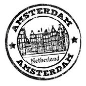 Black grunge rubber stamp with old houses and the word Amsterdam written inside vector illustration