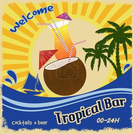 Ilustración de Plantilla del póster retro para tropical bar, ilustración vectorial - Imagen libre de derechos