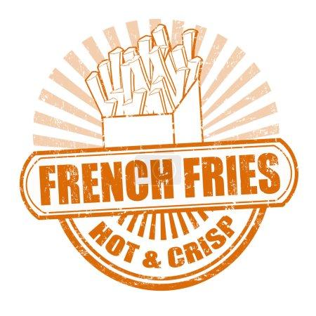 Illustration pour Grunge tampon caoutchouc, avec le texte frites écrites à l'intérieur, illustration vectorielle - image libre de droit