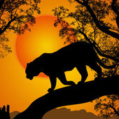Silhouette view of tiger on a tree at beautiful sunset vector illustration