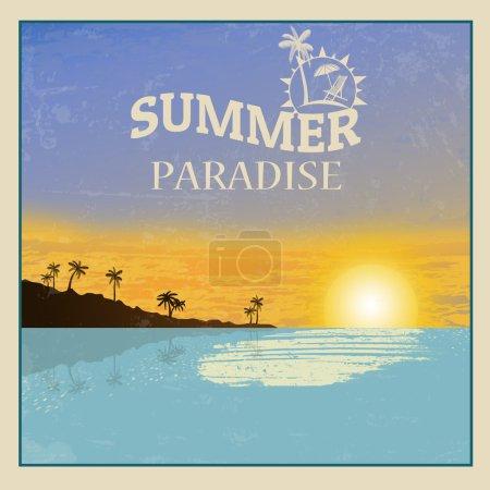 Vintage sunset seaside poster