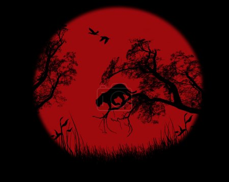 Illustration for Silhouette of leopard on tree over red sunset, vector illustration - Royalty Free Image