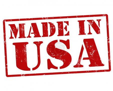Made in USA grunge ruber stamp on white background...