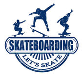 Skateboarding grunge rubber stamp on white background vector illustration