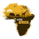 Wild Africa grunge poster background vector illustration