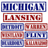 Set of Michigan cities stamps on white background vector illustration