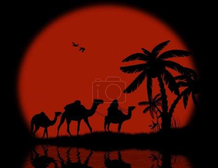 Bedouin camel caravan with full moon and reflexion...
