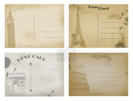 Illustration for Set of vintage postcard designs with London, Paris and Rome, vector illustration - Royalty Free Image