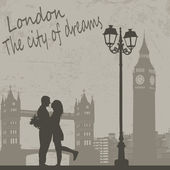 Retro London grunge poster with lovers and city scape vector illustration