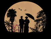 People silhouettes on beautiful landscape in front of full moon vector illustration