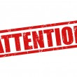 Attention grunge rubber stamp on white, vector ill...