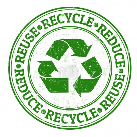 Illustration for Green grunge rubber stamp with the words reuse, reduce and recycle written inside - Royalty Free Image