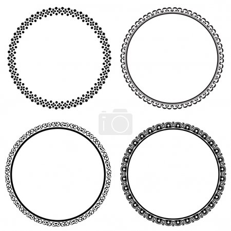 Illustration for Set of round frames on white background, vector illustration - Royalty Free Image