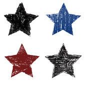 Set of grunge star on white background vecor illustration