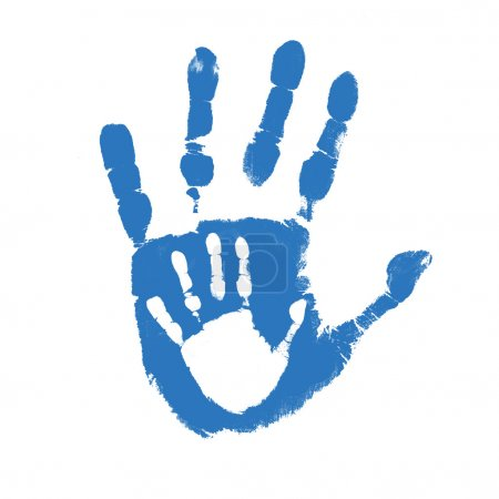 Illustration for Father and son handprints over white background, vector illustration - Royalty Free Image