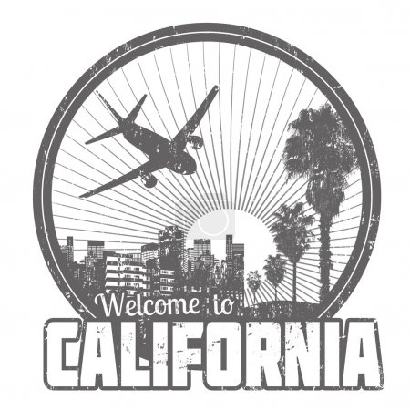 Welcome to California label or stamp