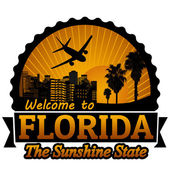 Welcome to Florida travel label or stamp on white vector illustration