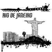 Grunge Rio de Janeiro cityscape background on white vector illustration