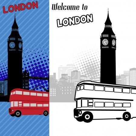 Illustration for London in original style cityscape poster, vector illustration - Royalty Free Image
