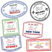 Passport grunge stamps from Marseille Beijing Lazio New york Sydney and Barcelona vector illustration